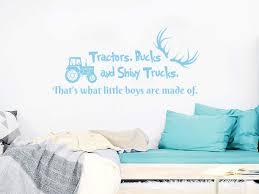 Wall Decal Quote Tractors Bucks And Shiny Trucks Deer Antlers Car Dump Truck Vinyl Sticker Decals Nursery Boys Bedroom Decor Nv130 10x22 Amazon Com