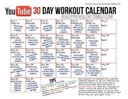 the 30 day you workout calendar