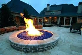 outdoor propane fire pit with glass