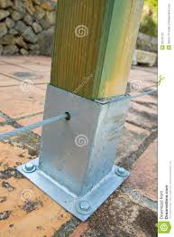 Wooden Post With Metal Support Stock Image Image Of Material Wood 20141231