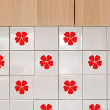 Amazon Com Minoly Waterproof Vinyl Stickers For Kitchen Bathroom Tiles 16 Pcs Poppy Flowers Wall Decorative Decals 3 2 X 3 2 Red Die Cut Arts Crafts Sewing