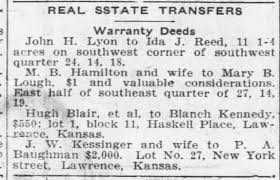 "Transfer from John H Lyon to Ida Reed of Crybaby under a ""Warranty Deed"" -  Newspapers.com"