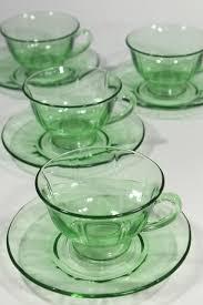 green glass tea cups saucers elegant