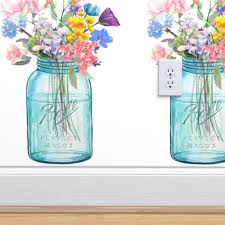 mason jar bouquet painting spoonflower