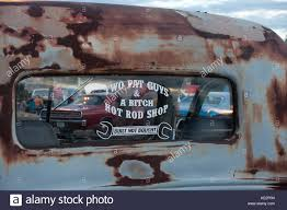 Window Decal On 1939 Ford Pickup At Hot Rod Cruise In Morristown Stock Photo Alamy