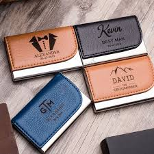 custom engraved leather business card