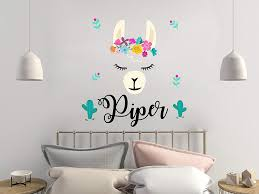 Amazon Com Ericaubird Llama Wall Decal Personalsized Girls Name Decals Alpaca Llama Nursery Decor Baby Girl Name Wall Sticker Animal Llama Girl Room R136 Easy To Apply And Removable Kitchen Dining