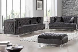 2pc gray sofa set living room furniture