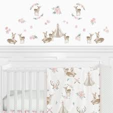 Sweet Jojo Designs Deer Floral Peel And Stick Wall Decal Wayfair