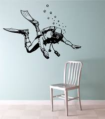 Scuba Diver Vinyl Wall Decal Sticker Art Decor Bedroom Design Mural Sticker Art Wall Decals Vinyl Wall Decals