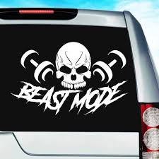 Beast Mode Skull Dumbbells Bodybuilding Muscle Decal Sticker