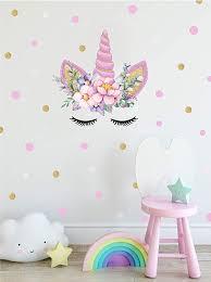 Amazon Com Dctop Unicorn Angel Flower Wall Decal Polka Dot Eyebrow Wall Sticker Colorful Fairytale Wall Nursery Wall Decals Bedroom Decals Vinyl Wall Decals