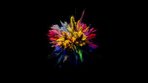 cg animation of color powder explosion