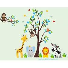 Nursery Wall Decals Safari Baby Stickers Kids Room Decor Jungle Themed Nursery Decor Removable And Reusable Peel And