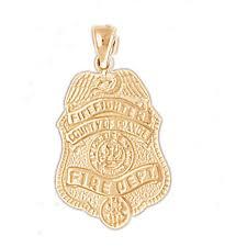 14k gold fire fighting charm pendant