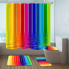 water lines rainbow polyester shower