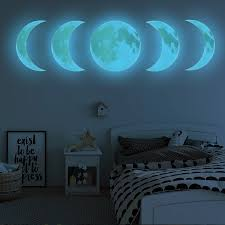 Luminous Moon Phase Diagram 3d Wall Stickers For Kids Room Living Room Glow In The Dark Fluorescent Stickers Wall Art Home Decor Wall Stickers Aliexpress