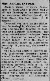 Snyder: Abigail (Rickenbach) mother of Emma Oswald (married to Obediah) -  Newspapers.com