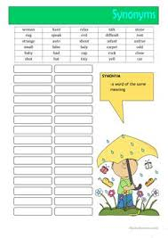 english esl synonyms worksheets most