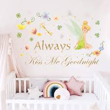 Amazon Com Runtoo Always Kiss Me Goodnight Wall Decal Quotes Fairy Love Wall Letter Stickers For Bedroom Wall Decor Arts Crafts Sewing