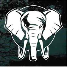Round Elephant Head Decals Car Window Stickers Decal Junky