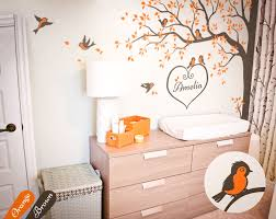 Nursery Corner Tree Wall Decal With Cute Birds And Personalized Baby Name Kw006 Ebay