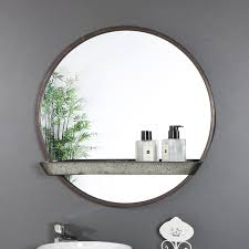 rustic industrial round mirror with