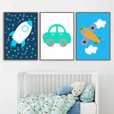 Cartoon Color Rocket Airplane Car Cloud Wall Art Canvas Painting Nordic Posters And Prints Wall Pictures Kids Room Nursery Decor Painting Calligraphy Aliexpress