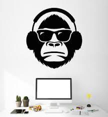 Vinyl Wall Decal Monkey Head In Sunglasses Musical Headphones Stickers 2055ig Ebay