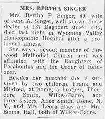 Bertha Smith Singer Obituary - Newspapers.com