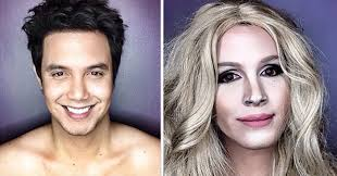 makeup to transform himself into female