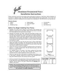 Aluminum Ornamental Fence Installation Instructions Jerith