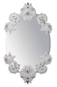 oval wall mirror without frame silver