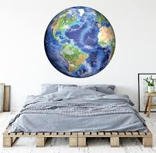 Earth Wall Decal Planet Wall Art Bedroom Wall Decal Etsy