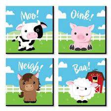 Farm Animals Barnyard Kids Room Nursery Decor And Home Decor 11 X 11 Inches Nursery Wall Art Set Of 4 Prints For Baby S Room Walmart Com Walmart Com