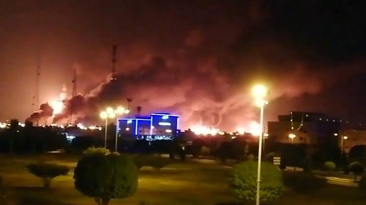 Image result for pictures of Saudi oil fields ablaze""