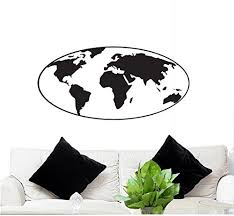 Fgd Brand Wall Decal Globe World Map 45 5 X 22 Globe Removable Wall Sticker Family Graphix Llc