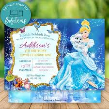 Editable Disney Cenicienta Invitacion Descarga Instantanea Bobotemp