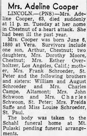 Obituary for Adeline Cooper (Aged 63) | Archives | pantagraph.com