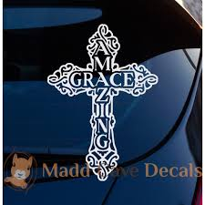 Amazing Grace Cross Decal Christian Car Laptop Graphic Sticker Window