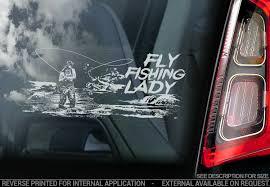 Fly Fishing Lady Car Sticker Salmon Fish Gear Window Bumper Boat Decal V02 Ebay