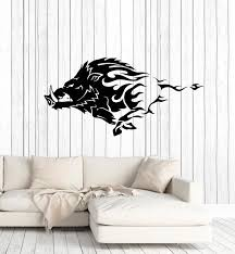 Vinyl Wall Decal Wild Boar Angry Pig Tribal Animal Decor Stickers Mura Wallstickers4you