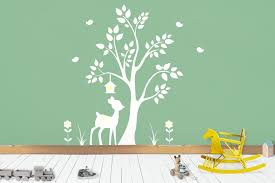 Forest Wall Decals Woodland Wall Decals White Color Style Nurserydecals4you