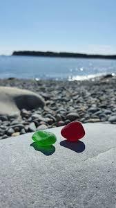 red and green sea glass beachglass