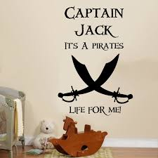Custom Name Captain Pirate Wall Sticker Boy Room Playroom Personalized Name Pirate Life For Me Inspirational Quote Wall Decal Wall Stickers Aliexpress