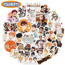 10 30 50pcs Haikyuu Anime Stickers Volleyball For Decal On Guitar Suitcase Laptop Phone Fridge Motorcycle Car Graffiti Decals Stickers Aliexpress