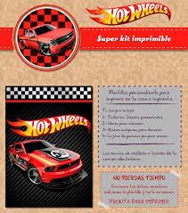 Kit Imprimible Hot Wheels Autos Rojos Personalizado Candy Ba