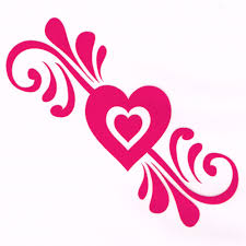 Girly Hot Pink Heart Car Decal Decorative Accessory