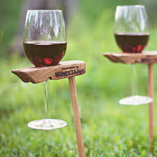 single picnic stake winestains