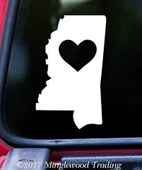 Amazon Com Minglewood Trading Mississippi Heart State Vinyl Decal Sticker 6 X 3 5 Love Ms Brown Automotive